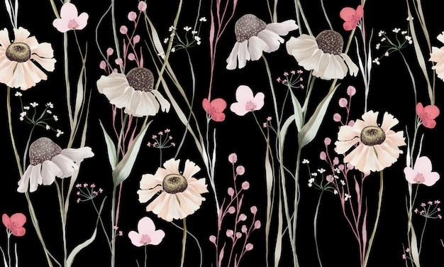 Akwarela pastelowe kolory wzór kwiatów na białym tle na czarnym tle