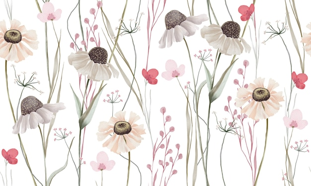 Akwarela pastelowe kolory wzór kwiatów na białym tle