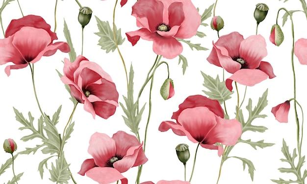 Akwarela pastelowe różowe kwiaty z zielonymi liśćmi wzór na białym tle