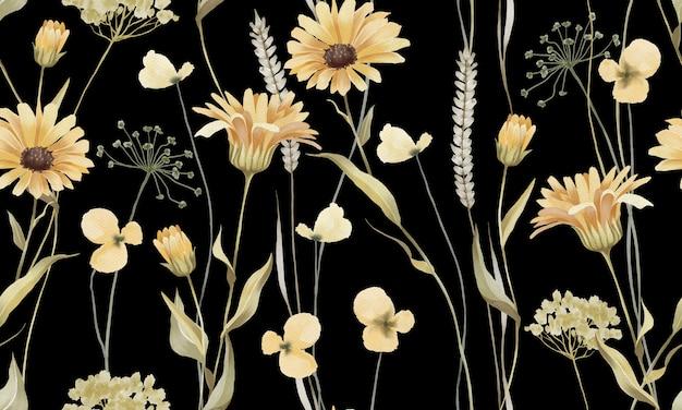 Akwarela pastelowe żółte kwiaty z zielonym wzorem liści na białym na czarnym tle
