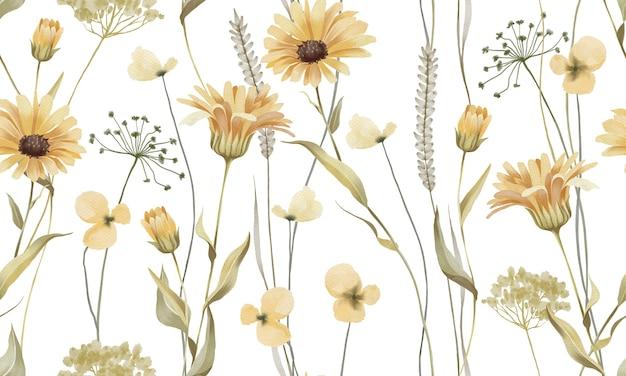 Akwarela pastelowe żółte kwiaty z zielonym wzorem liści na białym tle
