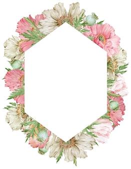 Akwarela piękne różowe i beżowe kwiaty maku na białym tle