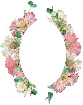 Akwarela piękny wieniec kwiatowy z różowymi i beżowymi kwiatami maku i zielonymi liśćmi eukaliptusa. ilustracja rysowane ręcznie. szablon karty z pozdrowieniami lub zaproszenie.