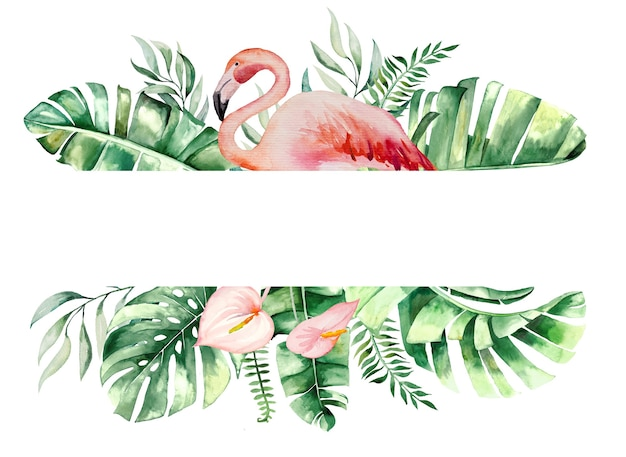 Akwarela pink flamingo, tropikalne liście i kwiaty rama ilustracja na białym tle ślub papeteria, pozdrowienia, tapeta, moda, plakaty