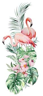 Akwarela pink flamingo, tropikalny bukiet liści i kwiatów projekt na białym tle ilustracja do ślubu papeterii, pozdrowienia, tapeta, moda, plakaty