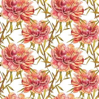 Akwarela piwonia wzór kwiatów