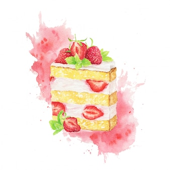 Akwarela plasterek ciasta truskawkowego z czerwonymi plamami na białym tle