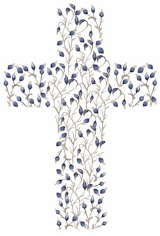 Akwarela polne kwiaty cross clipart, niebieskie kwiaty krzyż, łąka kwiatowy rama, chrzest kwiaty pola krzyże, zaproszenia ślubne, karty religijne, duch święty