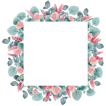 Akwarela pozostawia romantyczną ramkę vintage kwadratowa ramka z ziołami eukaliptusowymi i liśćmi