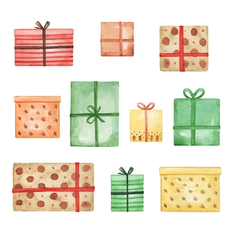 Akwarela prezent pudełko clipart, zestaw prezentów wesołych świąt, ilustracja, wystrój nowego roku