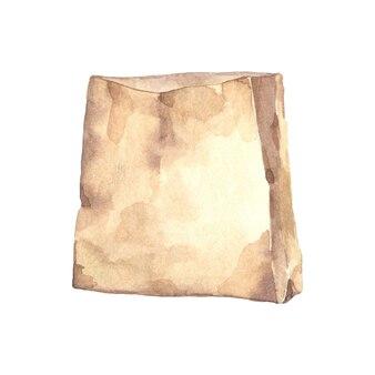 Akwarela pusta papierowa torba
