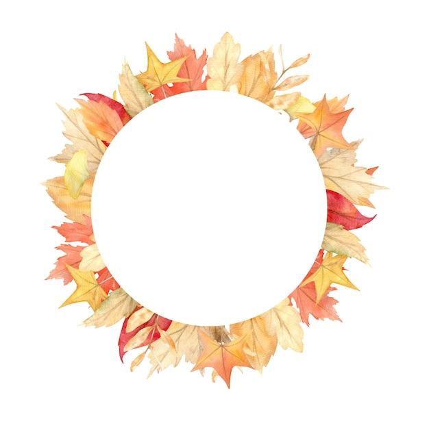 Akwarela rama liści i gałęzi na białym tle. jesienna ilustracja na kartki z życzeniami, zaproszenia ślubne.