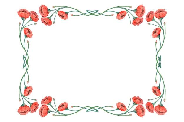 Akwarela rama starodawny czerwone maki