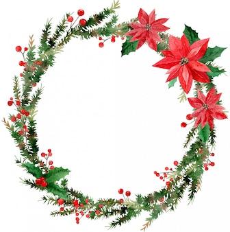 Akwarela rama wesołych świąt