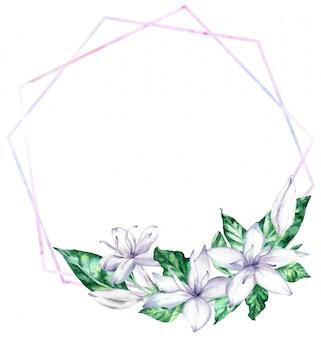 Akwarela rama z białej kawy kwiatami i zielonymi liśćmi.