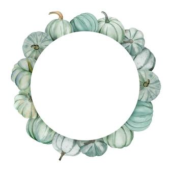 Akwarela rama z jesiennymi dyniami. kwiatowy układ z kolorowymi dyniami.