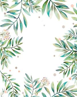 Akwarela rama z kwiatów i liści. ręcznie malowane tło kwiatowy z elementami zieleni i konfetti. projekt zaproszenia w stylu ogrodu