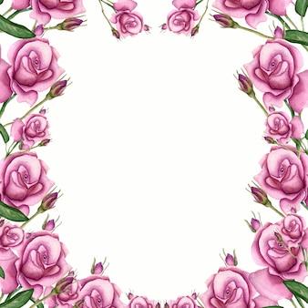 Akwarela rama z liśćmi i różanym kwiatem