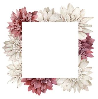 Akwarela ramka chryzantema szkarłatny i biały. spadek kwiaty kwadratowy szablon. jesienna ramka na białym tle na białym tle.