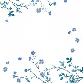 Akwarela ramka z niebieskim kwiatem i gałęzią na białym tle