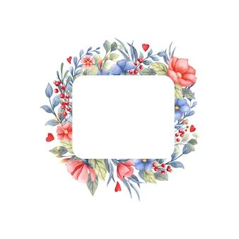 Akwarela ramki z bukietem kwiatów i serca.