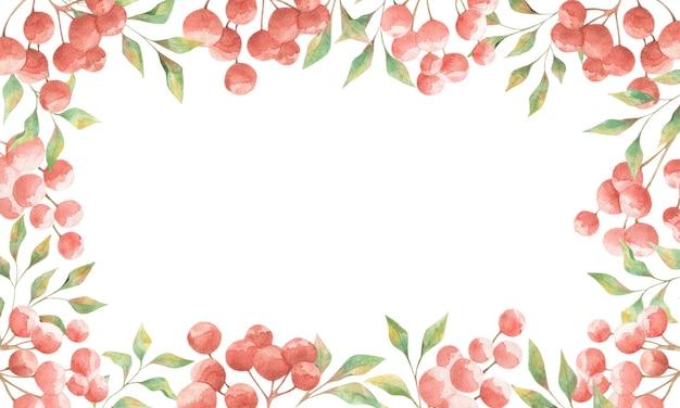 Akwarela ramki z czerwonymi jagodami i zielonymi liśćmi na białym tle, projekt lato na karty, zaproszenia, plakaty