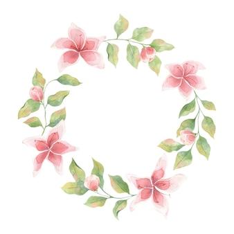 Akwarela ramki z zielonymi liśćmi i kwiatami lilii na białym tle, pojedynczy element