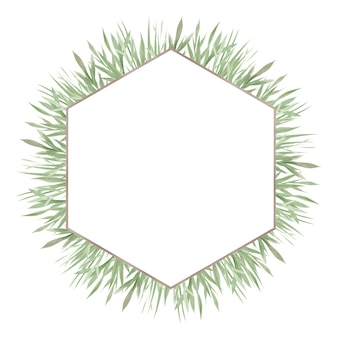 Akwarela ramki zieleni, zielonych liści i gałęzi