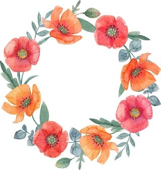 Akwarela ręcznie malowana ramka z kwiatami maku idealny projekt menu z życzeniami