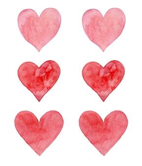 Akwarela ręcznie malowana sercami w ciepłych pastelowych kolorach. do dekoracji ślubnych lub na walentynki