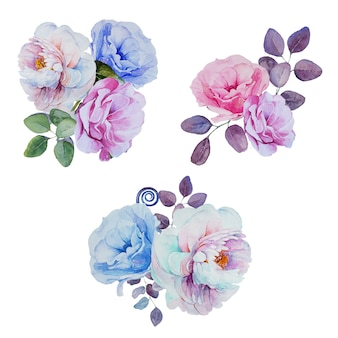 Akwarela ręcznie malowane bukiety kwiatów clipartów zestaw na białym tle