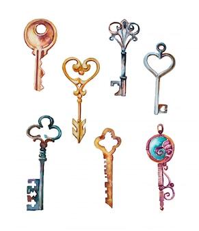 Akwarela ręcznie malowane klucze i zamki clipartów zestaw na białym tle. elementy projektu vintage klucze.