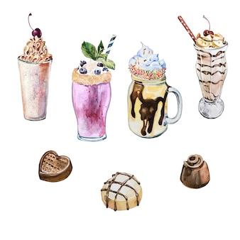 Akwarela ręcznie malowane koktajle mleczne i słodkie cukierki ilustracje na białym tle. zestaw clipartów akwarela koktajle. elementy projektu słodyczy.