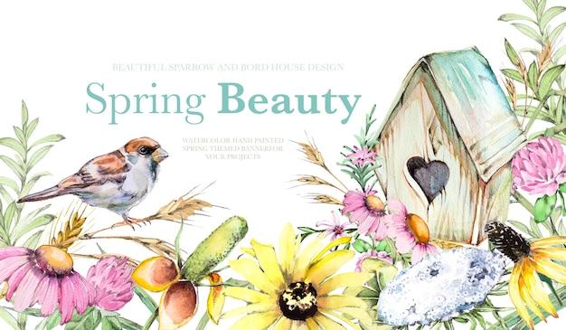 Akwarela ręcznie malowane kwiaty polne i ptaki tła ilustracji