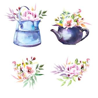 Akwarela ręcznie malowane zabytkowe puszki i bukiety kwiatów na białym tle na białe ilustracje.