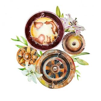 Akwarela ręcznie malowany mechanizm zegara z kwiatami