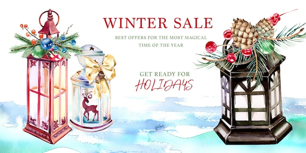 Akwarela ręcznie malowany projekt transparentu zimowej sprzedaży.
