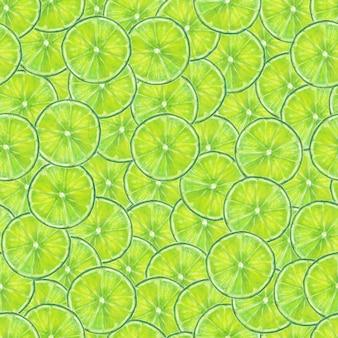 Akwarela ręcznie rysowane bezszwowe plasterki owoców limonki wzór