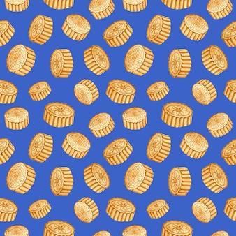 Akwarela ręcznie rysowane bezszwowe wzór festiwalu w połowie jesieni księżycowe ciasta na niebieskim tle wydruku
