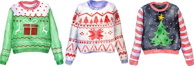 Akwarela ręcznie rysowane brzydkie swetry świąteczne. ubrania na boże narodzenie.