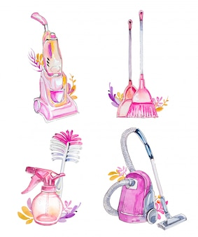 Akwarela ręcznie rysowane czyszczenia clipartów zestaw na białym tle. artykuły gospodarstwa domowego