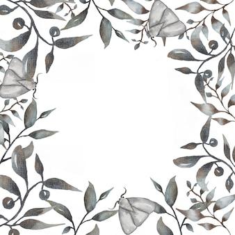 Akwarela ręcznie rysowane kwiatowy zestaw. piękna delikatna ramka w neutralnych czarnych, modnych kolorach. elegancka kolekcja kwiatowa z odosobnionymi delikatnymi liśćmi, ćmą, nocnym motylem i kwiatami