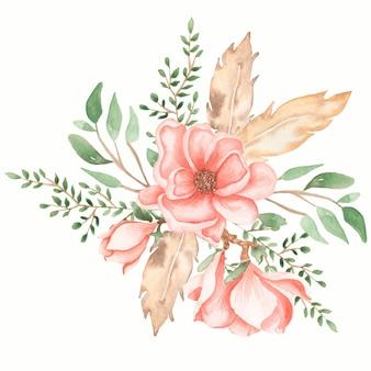 Akwarela ręcznie rysowane miękka różowa piwonia i magnolia kwiaty bukiet ilustracja z zielonych liści