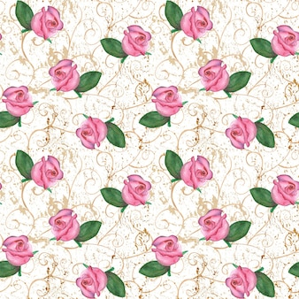 Akwarela ręcznie rysowane orientalny wzór z różowe pąki róż na stary tło grunge. koncepcje projektowania mody, tkanin, pościeli i opakowań