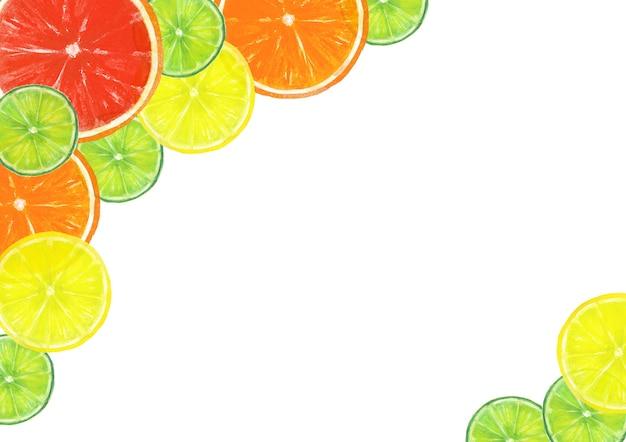 Akwarela ręcznie rysowane ramki plasterki owoców cytrusowych, grejpfrut, pomarańcza, limonka, cytryna