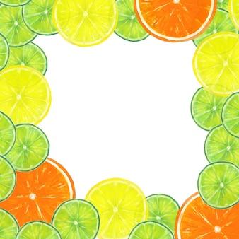 Akwarela ręcznie rysowane ramki plasterki owoców cytrusowych, pomarańcza, limonka, cytryna
