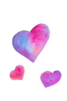Akwarela ręcznie rysowane serca