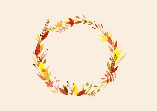 Akwarela ręcznie rysowane wieniec jesień; jesienna rama; izolowany wieniec; rama z liści i kwiatów lub wieniec.