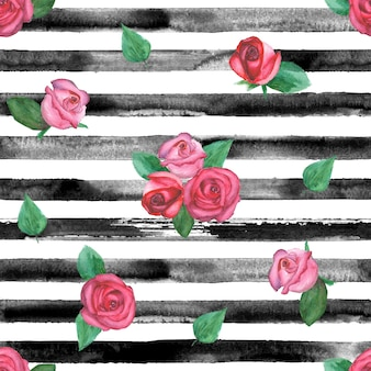 Akwarela ręcznie rysowane wzór w czarne paski i róże. akwarela białe i czarne tło.