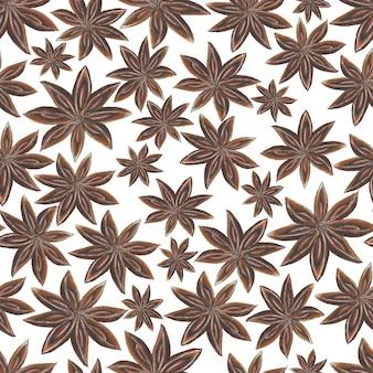 Akwarela ręcznie rysowane wzór z przyprawami anyżu gwiazdki na białej powierzchni